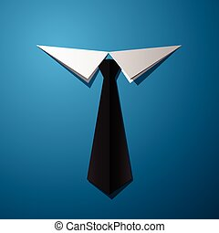 vector illustration of tie and shirt, job design, office worker concept, cut paper