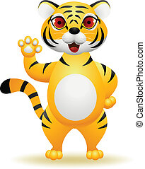 Tiger cartoon waving hand