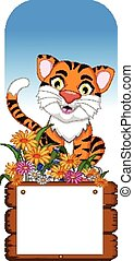 tiger cartoon with blank board