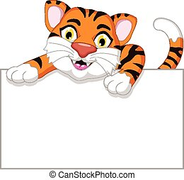tiger cartoon with blank board - vector illustration of...
