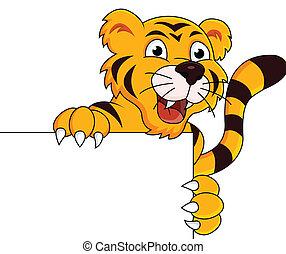 Tiger cartoon with blank sign - vector illustration of Tiger...
