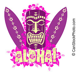 Vector illustration of tiki mask with surf boards, and hand...