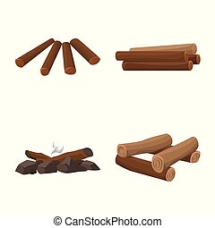 Vector illustration of timber and nature symbol. Collection of timber and construction stock vector illustration.
