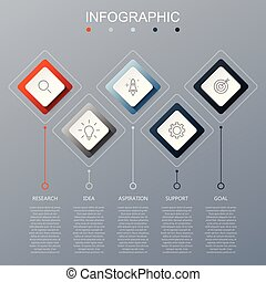 Timeline infographics design template with 5 options