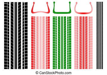 Vector illustration of tire tracks with information on the...