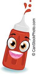Tomato Ketchup Bottle Mascot - Vector Illustration of Tomato...