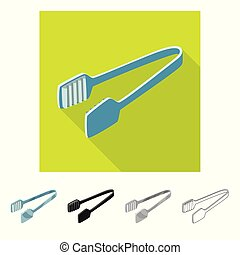 Vector illustration of tongs and dishware icon. Set of tongs and cafe stock symbol for web.