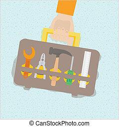 Vector illustration of tool box set in flat design