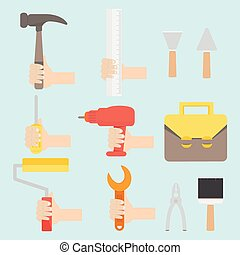 Vector illustration of tool set in flat design