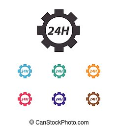 Vector Illustration Of Toolkit Symbol On 24 Hour Service Icon. Premium Quality Isolated Support Center  Element In Trendy Flat Style.