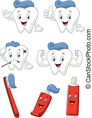 Tooth, brush and tooth paste cartoo