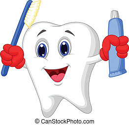 Tooth cartoon holding toothbrush an