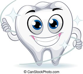 Tooth Mascot holding Dental Floss - Vector Illustration of...