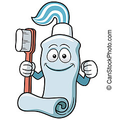 Toothbrush and toothpaste - Vector illustration of...