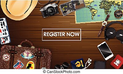 Top view on travel and tourism concept template - Vector ...