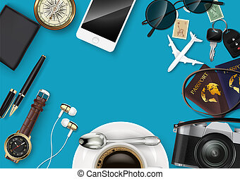 Top view on travel and vacations concept - Vector ...