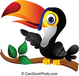 toucan bird cartoon presenting - vector illustration of ...