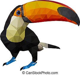 Vector illustration of toucan, Low Poly, Polygonal illustration