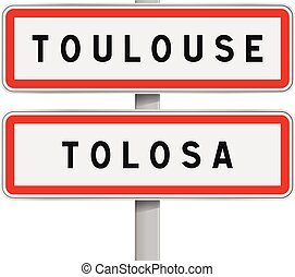Toulouse road signs entrance
