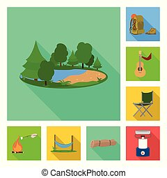 Vector illustration of tourism and excursions symbol. Set of tourism and rest stock symbol for web.