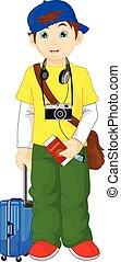 tourist boy cartoon