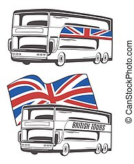 Vector illustration of tourist bus with Union Jack.