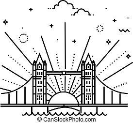 Vector Illustration of Tower bridge Icon Outline - London...