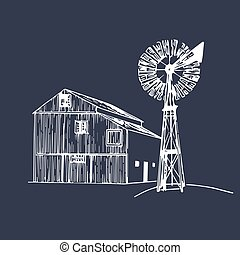 Vector illustration of traditional farm barn with windmill...