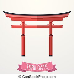 Traditional Japanese Torii gate on white background - Vector...