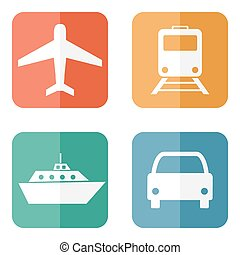 Vector illustration of transport related icons
