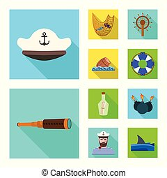 Vector illustration of travel and attributes icon. Collection of travel and seafaring stock symbol for web.