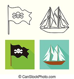 Vector illustration of travel and attributes icon. Set of travel and seafaring stock symbol for web.