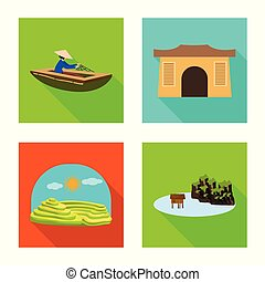 Vector illustration of travel and country icon. Collection of travel and landmark stock symbol for web.