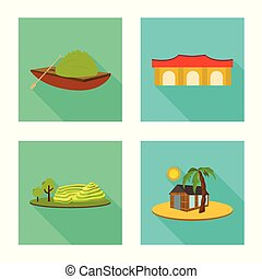 Vector illustration of travel and country icon. Set of travel and asia stock symbol for web.