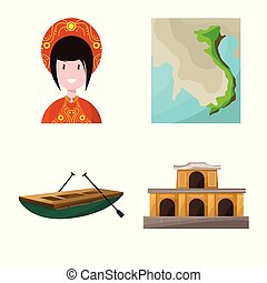 Vector illustration of travel and country logo. Set of travel and culture vector icon for stock.