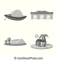 Vector illustration of travel and country symbol. Set of travel and landmark vector icon for stock.