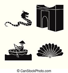 Vector illustration of travel and country symbol. Set of travel and national vector icon for stock.
