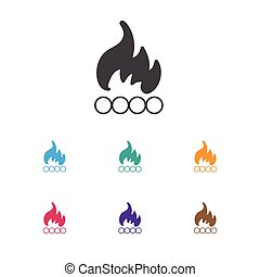 Vector Illustration Of Travel Symbol On Bonfire Icon. Premium Quality Isolated Blaze  Element In Trendy Flat Style.