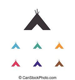 Vector Illustration Of Travel Symbol On Tepee Icon. Premium...