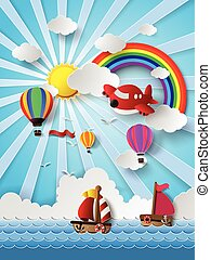 travel transportation - Vector illustration of travel ...
