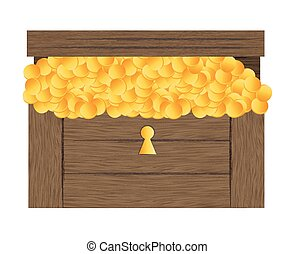Vector illustration of treasure chest with gold coins vector