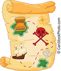 Treasure map - vector illustration of Treasure map