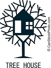 Tree house logo template design