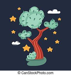 Vector illustration of tree on dark background.