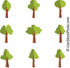 Vector illustration of tree set