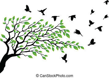 Tree silhouette with bird flying - Vector Illustration Of...