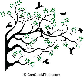 tree silhouette with bird fying