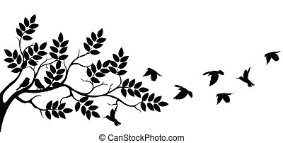 tree silhouette with birds flying - vector illustration of ...