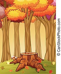 Tree stump and mushroom in the autumn forest