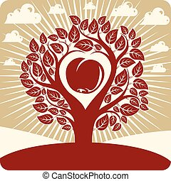 Vector illustration of tree with branches in the shape of heart with an apple inside, love and motherhood idea image. Landscape with clouds and stylized sun. Ecology theme illustration.